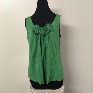 Loft Green Floral Tank Top Large Heathered Shirt